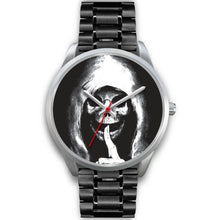 Load image into Gallery viewer, The Silencer Silver Skull Watch-Silver Watch-wc-fulfillment-Mens 40mm-Black Metal Link-SKULLZOPHRENIA