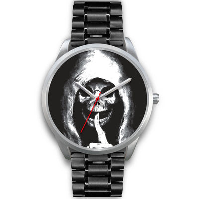 The Silencer Silver Skull Watch-Silver Watch-wc-fulfillment-Mens 40mm-Black Metal Link-SKULLZOPHRENIA