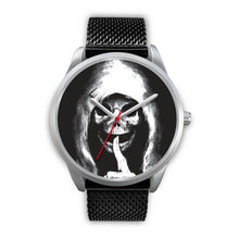 Load image into Gallery viewer, The Silencer Silver Skull Watch-Silver Watch-wc-fulfillment-Mens 40mm-Black Metal Mesh-SKULLZOPHRENIA