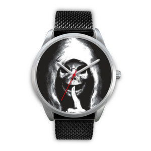 The Silencer Silver Skull Watch-Silver Watch-wc-fulfillment-Mens 40mm-Black Metal Mesh-SKULLZOPHRENIA