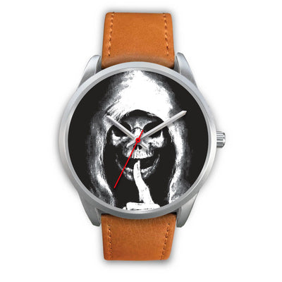 The Silencer Silver Skull Watch-Silver Watch-wc-fulfillment-Mens 40mm-Brown Leather-SKULLZOPHRENIA