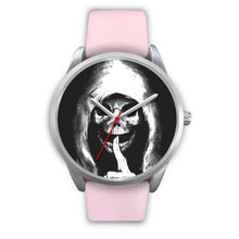 Load image into Gallery viewer, The Silencer Silver Skull Watch-Silver Watch-wc-fulfillment-Mens 40mm-Pink Leather-SKULLZOPHRENIA