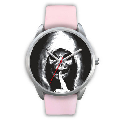 The Silencer Silver Skull Watch-Silver Watch-wc-fulfillment-Mens 40mm-Pink Leather-SKULLZOPHRENIA