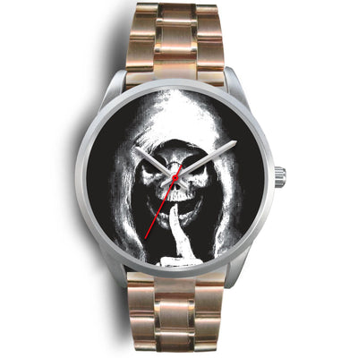 The Silencer Silver Skull Watch-Silver Watch-wc-fulfillment-Mens 40mm-Rose Gold Metal Link-SKULLZOPHRENIA