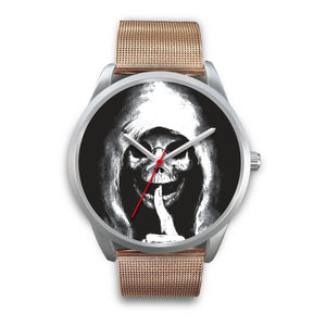 The Silencer Silver Skull Watch-Silver Watch-wc-fulfillment-Mens 40mm-Rose Gold Metal Mesh-SKULLZOPHRENIA