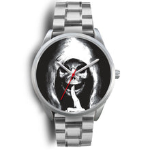 Load image into Gallery viewer, The Silencer Silver Skull Watch-Silver Watch-wc-fulfillment-Mens 40mm-Silver Metal Link-SKULLZOPHRENIA