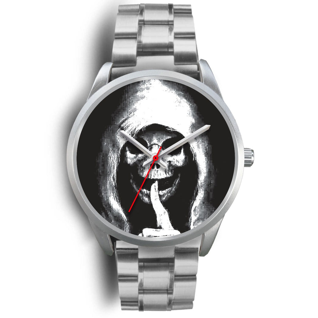The Silencer Silver Skull Watch-Silver Watch-wc-fulfillment-Mens 40mm-Silver Metal Link-SKULLZOPHRENIA