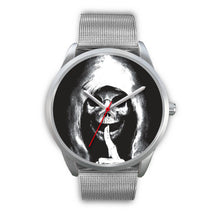 Load image into Gallery viewer, The Silencer Silver Skull Watch-Silver Watch-wc-fulfillment-Mens 40mm-Silver Metal Mesh-SKULLZOPHRENIA