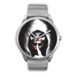 The Silencer Silver Skull Watch-Silver Watch-wc-fulfillment-Mens 40mm-Silver Metal Mesh-SKULLZOPHRENIA