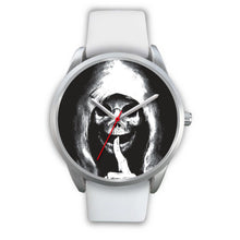 Load image into Gallery viewer, The Silencer Silver Skull Watch-Silver Watch-wc-fulfillment-Mens 40mm-White Leather-SKULLZOPHRENIA