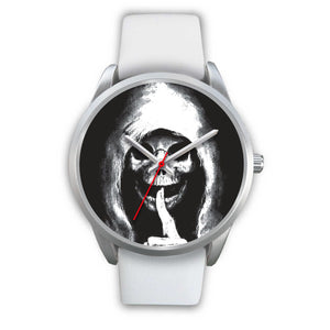 The Silencer Silver Skull Watch-Silver Watch-wc-fulfillment-Mens 40mm-White Leather-SKULLZOPHRENIA