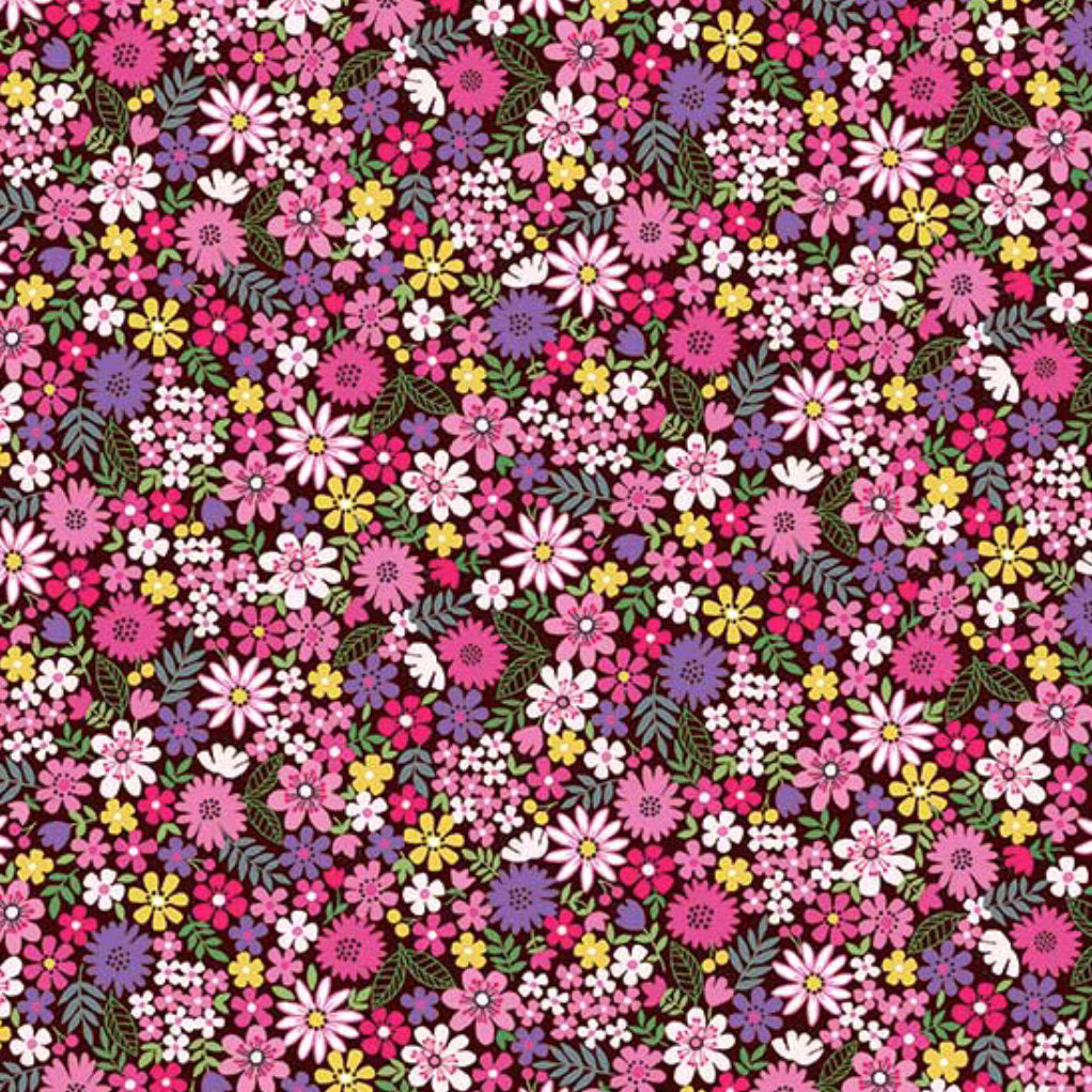 Fat Quarter - Andover Fabrics - Bloom - Summer - Packed Flowers Pink