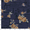 Lecien Fabrics - Antique Rose 2018 - Floral Text Navy