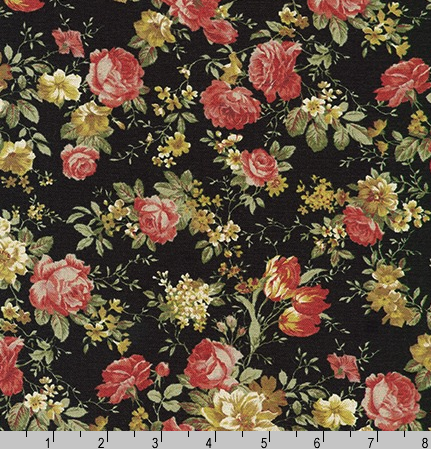 Cotton Flax Prints Florals Black by Robert Kaufman|Royal Motif Fabrics
