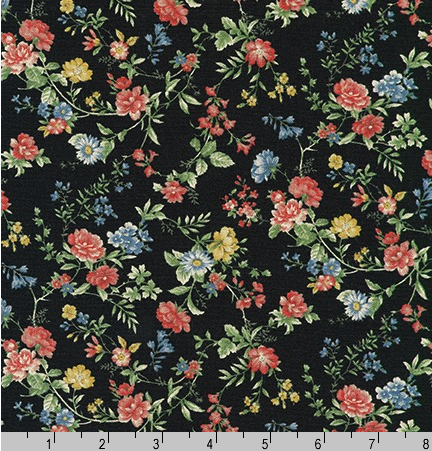 Cotton Flax Prints Florals on Black by Robert Kaufman | Royal Motif