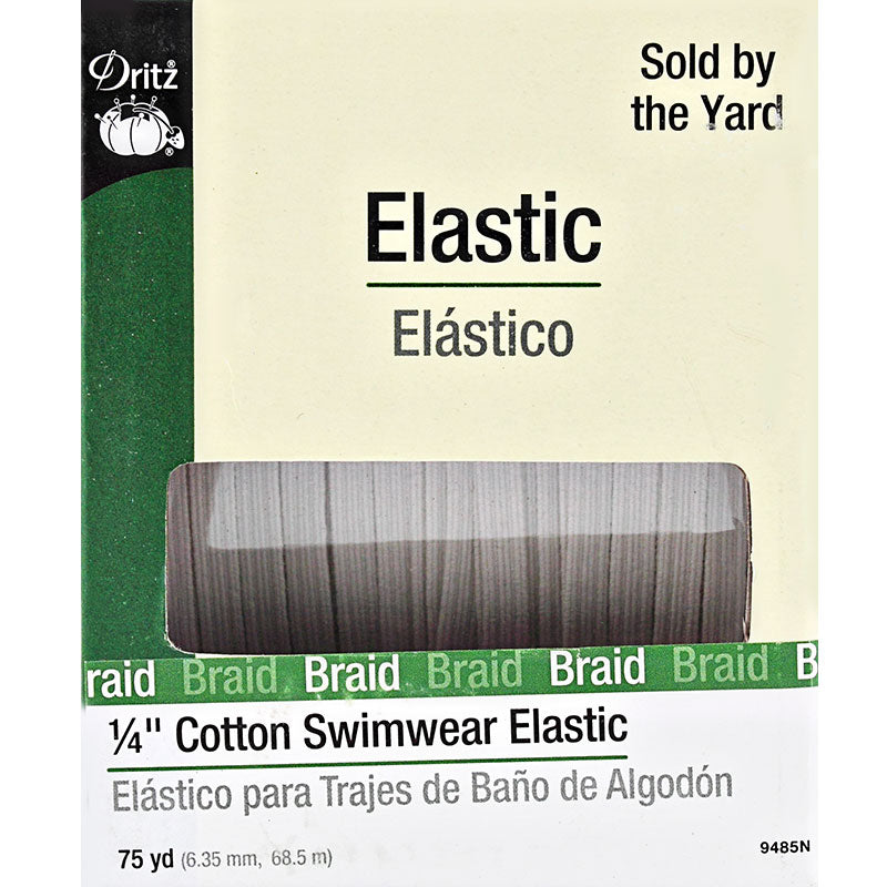 "1/4"" Cotton Swimwear Elastic White 75 Yd long by Dritz 9485N"