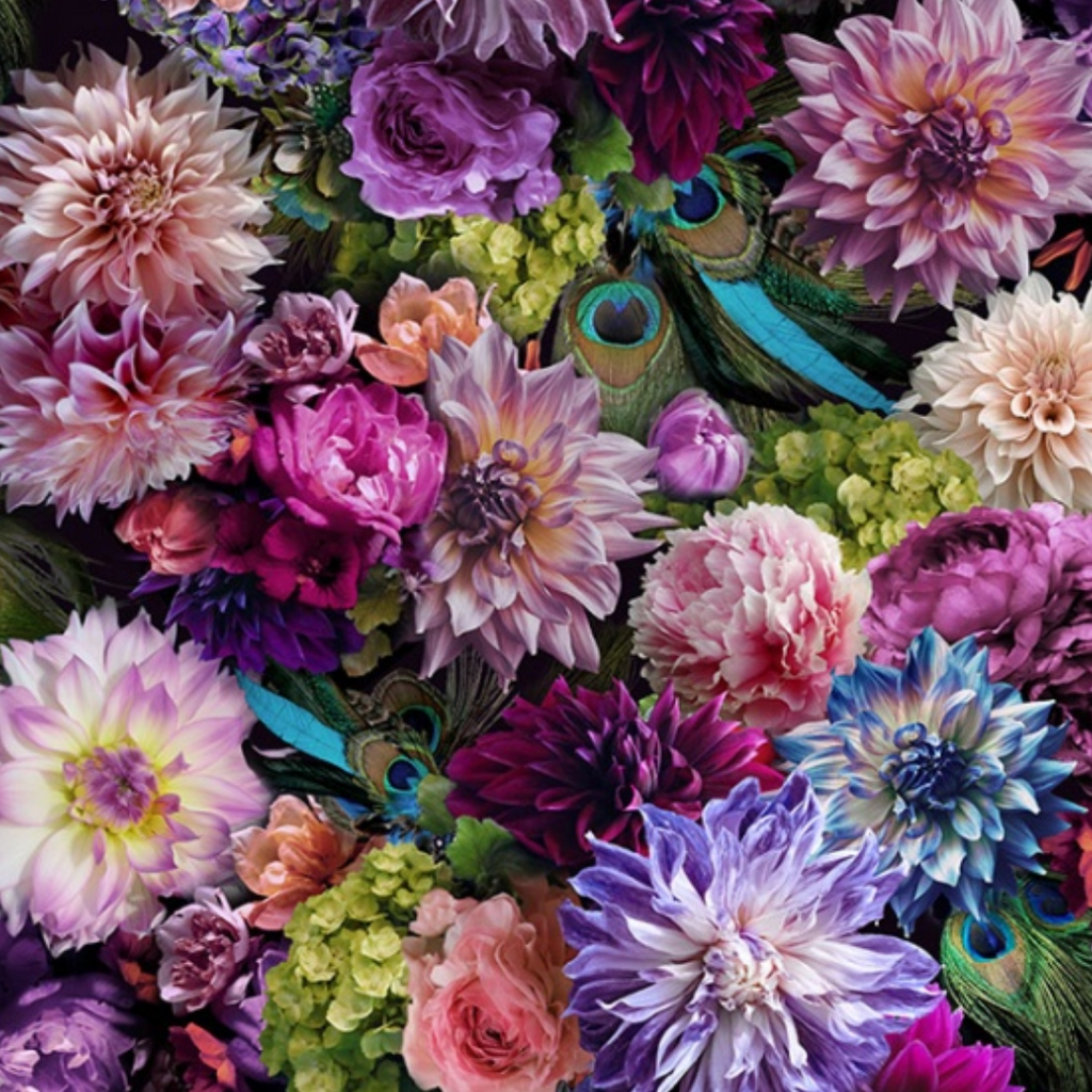 Hoffman Proud As A Peacock Dahlia Digital Print | Designer Floral
