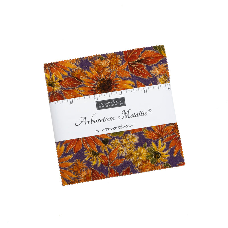Arboretum Metallic Charm Pack by Moda Fabrics | Quilting Precuts