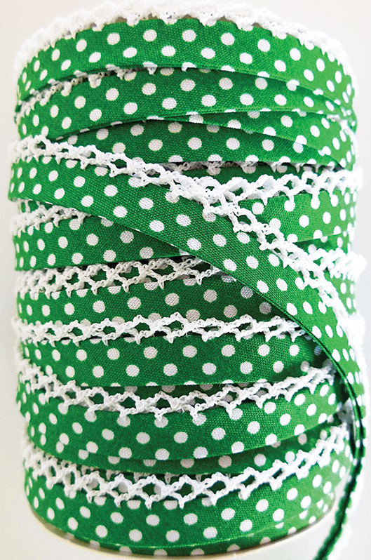 Crotchet Edge Double Fold Bias Dots Kelly Tape | Royal Motif Fabrics