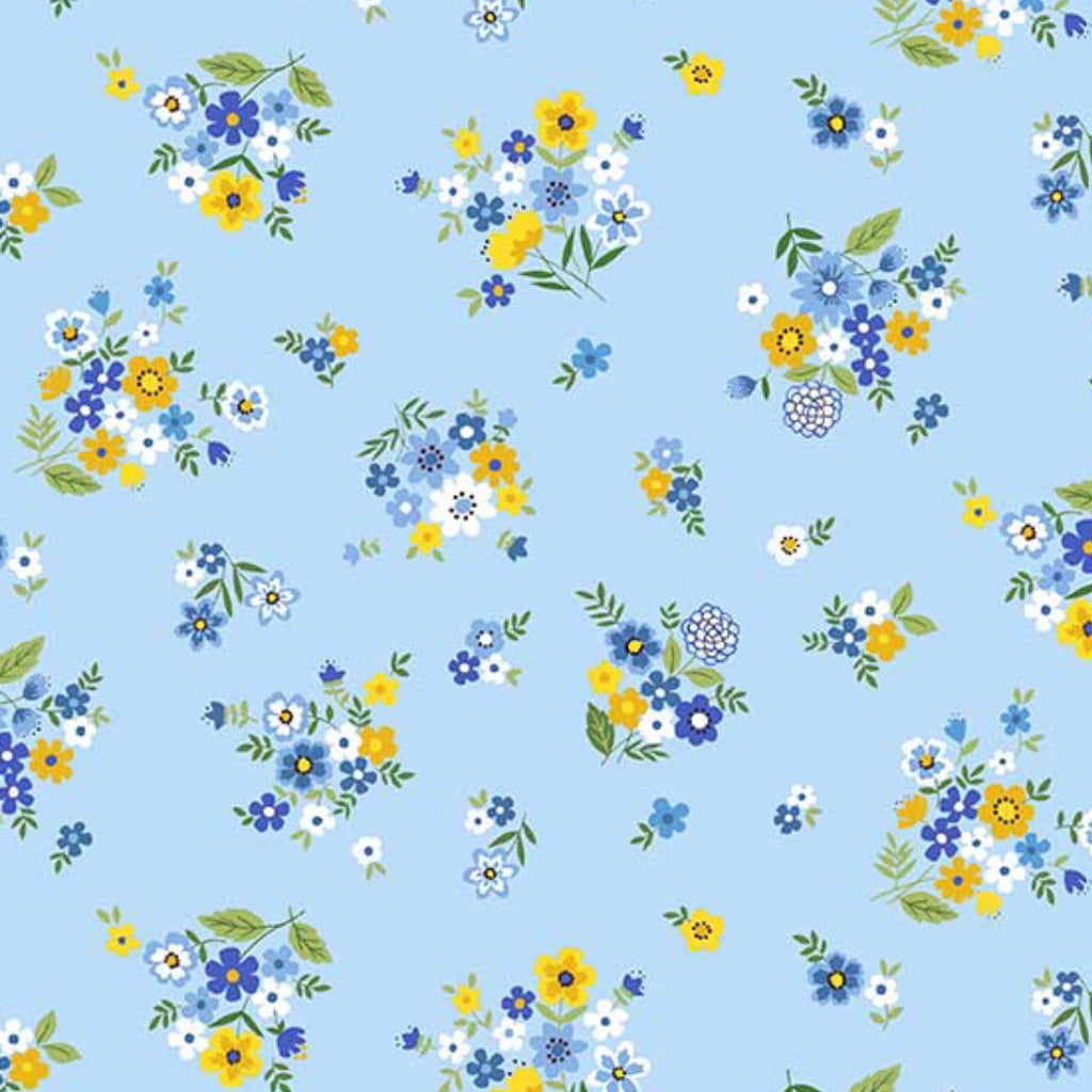 "18"" Remnant - Andover Fabrics - Bloom - Spring - Bouquet Blue"