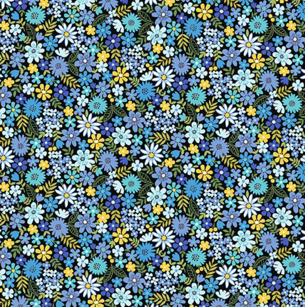 "18"" Remnant - Andover Fabrics - Bloom - Spring - Packed Flowers Blue"