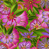 Clothworks - Sea Goddess - Floral Toss Fuchsia