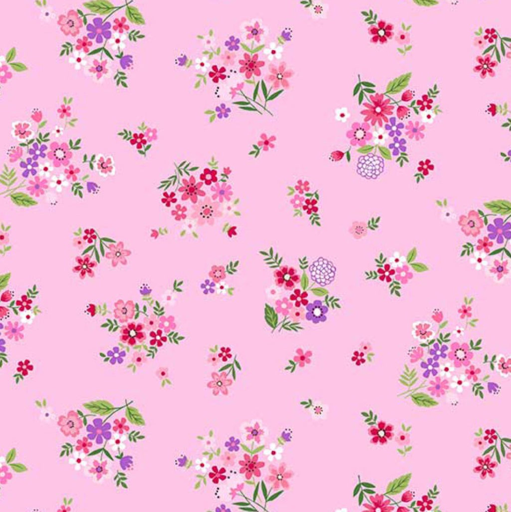 "18"" Remnant - Andover Fabrics - Bloom - Summer - Bouquet Pink"
