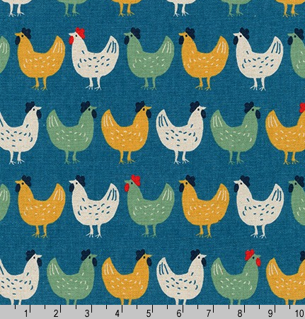 Cotton Flax Prints Hens on Blue by Robert Kaufman |Royal Motif Fabrics