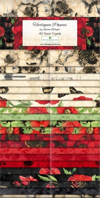 Harlequin Poppies 40 Karat Crystals/Jelly Roll by Wilmington Prints