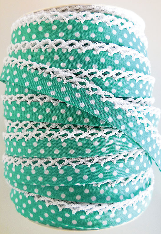 Crotchet Edge Double Fold Bias Dots Sea foam Tape |Royal Motif Fabrics