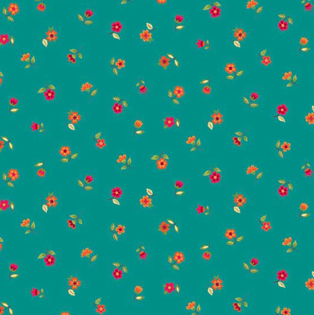 "18"" Remnant - Andover Fabrics - Bloom - Autumn - Floral Scatter Teal"