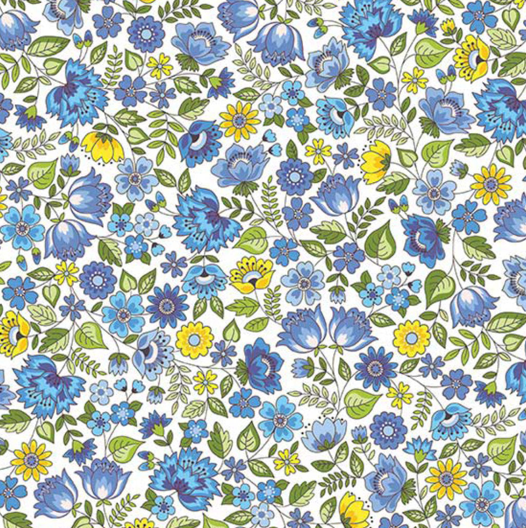 "18"" Remnant - Andover Fabrics - Bloom - Spring - Chintz Blue"