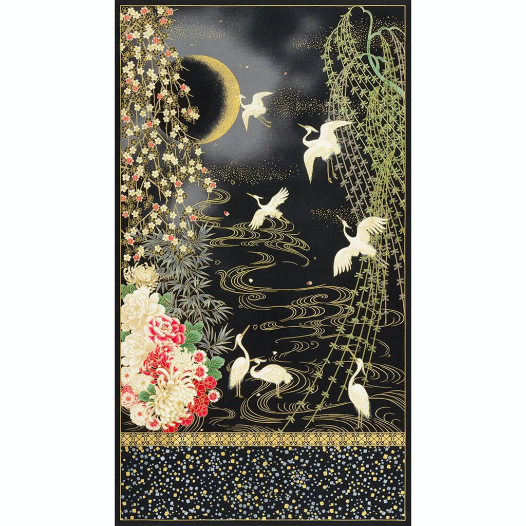 Imperial Collection 16 Midnight Mum Crane Panel Onyx by Robert Kaufman