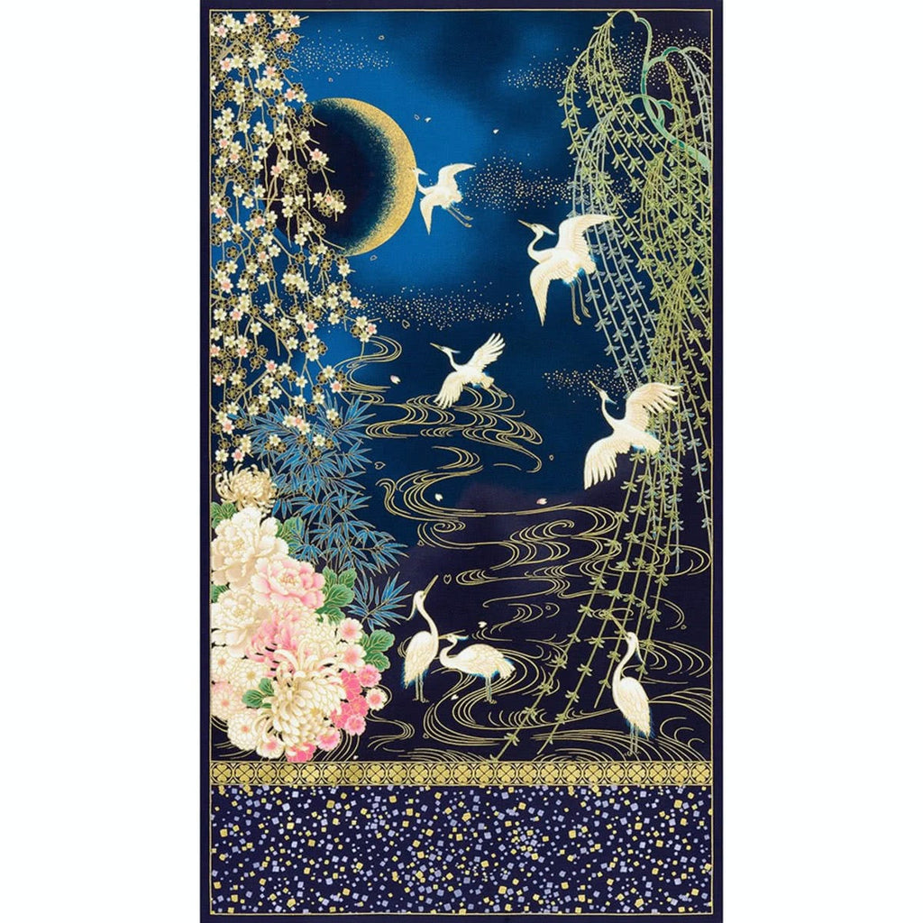 Imperial Collection 16 Midnight Mum Crane Panel Spring by Robert Kaufman