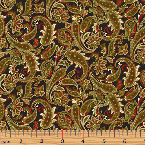 Winterberry - Winter Paisley Black/Multi by 9643-12 Benartex
