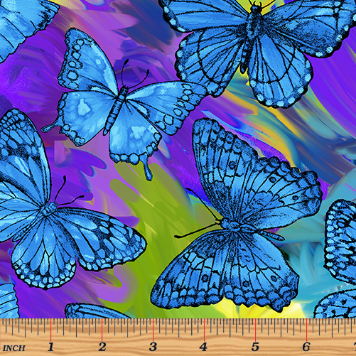 "12"" Remnant - Benartex - Benartex - Rainforest - Butterfly Magic Blue/Multi"