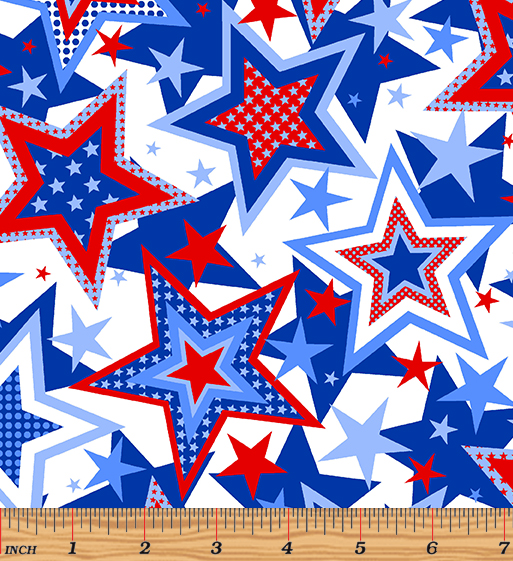 Red, White & True Patriotic Stars White by Kanvas Studio for Benartex