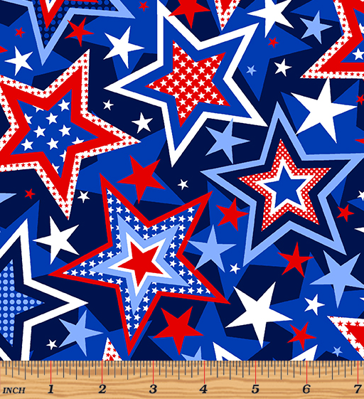 Red, White & True Patriotic Stars Navy by Kanvas Studio for Benartex