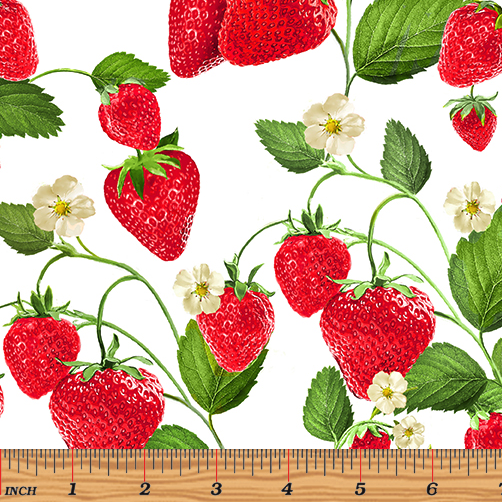 Strawberry Fields Forever - Strawberry Patch White by Kanvas Studio