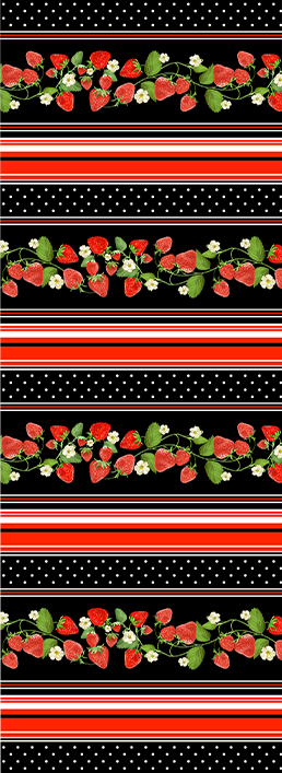 Strawberry Fields Forever - Strawberry Stripe Black by Kanvas Studio