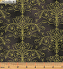 Floral Impressions Washed Tonal Filigree Dark Gray Gold Metallic 8679M-13 by Benartex