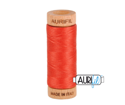 Aurifil 80wt Cotton Thread #2250 Red Orange | Royal Motif Fabrics