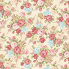 Henry Glass Peaceful Garden Flannel - Master Floral Cream Fabric F8690-44