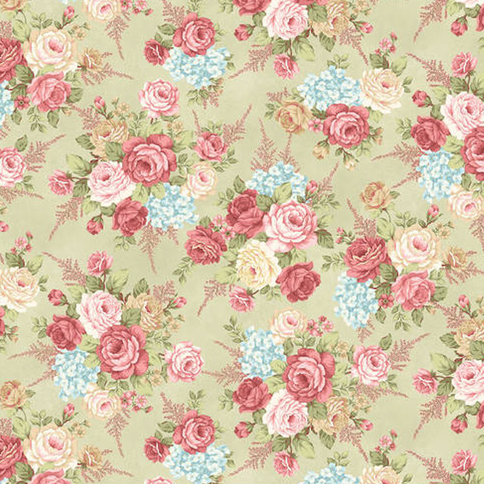Henry Glass Peaceful Garden Flannel - Master Floral Green Fabric F8690-66