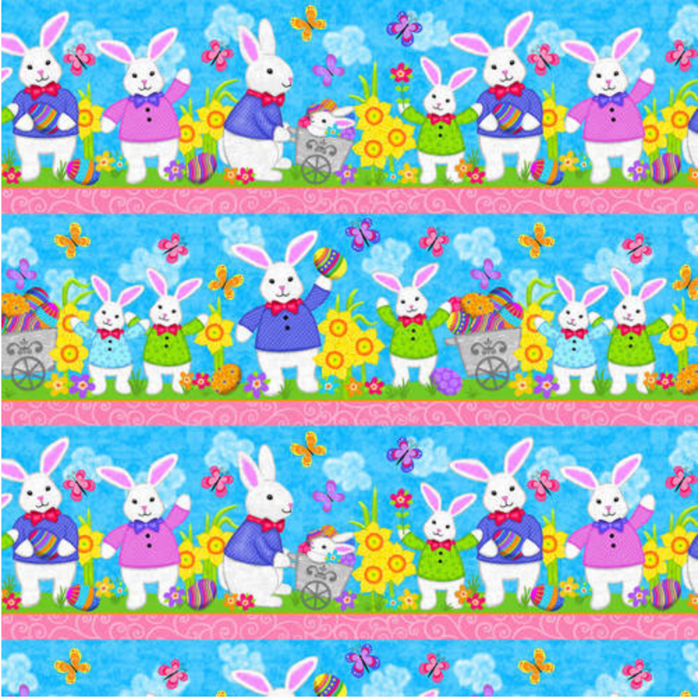 Hello Spring - Novelty Easter Stripe Blue by Studio E Fabrics | Novelty Fabrics