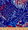 Red, White & True Patriotic Firework Celebration Blue by Benartex 9703-50