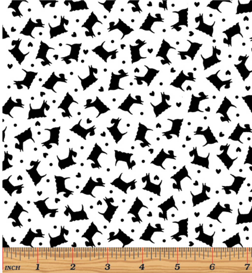 Tonal Scottie Dogs White/Black by Kanvas Studio for Benartex