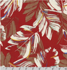 Island Paradise Tropical Leaves on Red by Robert Kaufman
