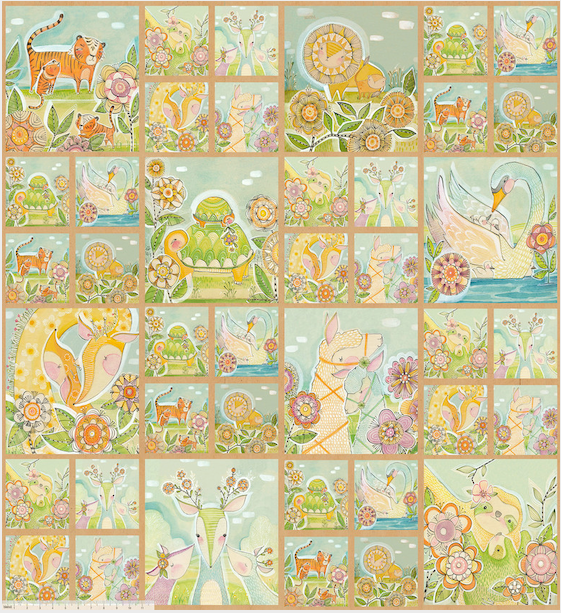 Hello Big World - Mommy & Me Panel Multi by Cori Dantini for Blend Fabrics