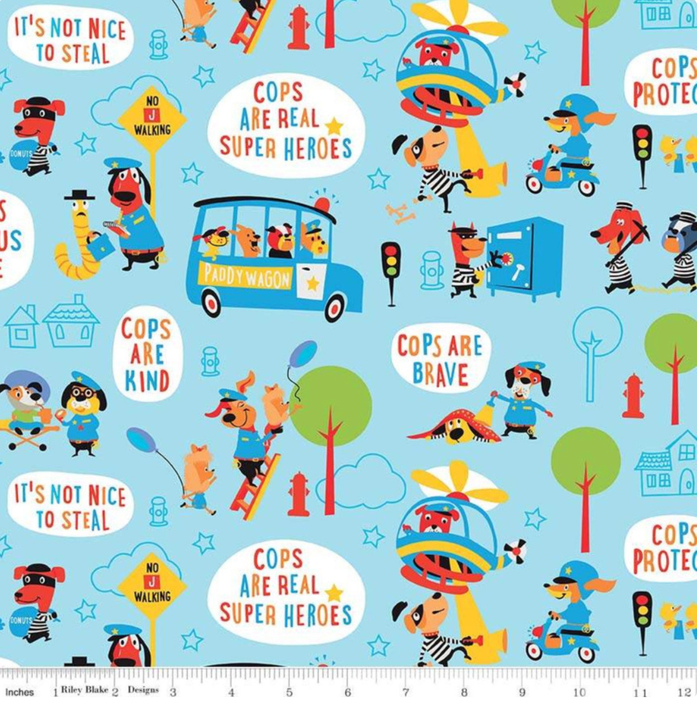 Cops and Robbers Main Blue by Riley Blake C8610-BLUE | Royal Motif Fabrics
